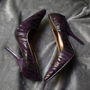 Miss Me? Purple Zebra Print Heels